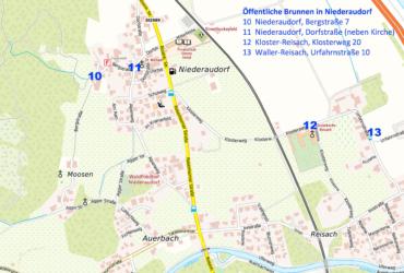 Übersichtskarte Niederaudorf mit Einzeichnung öffentlicher Brunnen