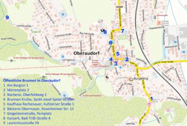 Übersichtskarte Oberaudorf mit Einzeichnung öffentlicher Brunnen