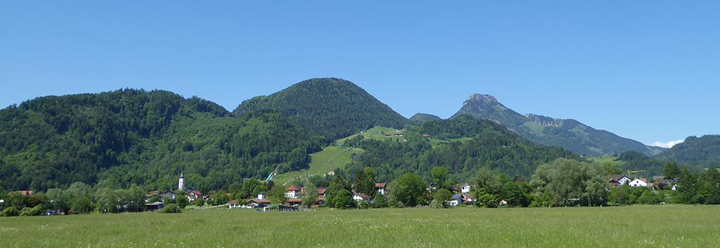 Wiesen vor Ortsansicht Oberaudorf mit Hocheck im Hintergrund